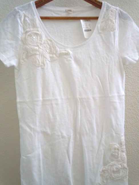 J.Crew Applique Sequins Rosettes Flowers T Shirt White