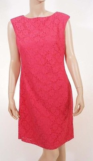 Preload https://img-static.tradesy.com/item/7432726/ralph-lauren-womens-calypso-coral-pink-floral-sleeveless-lace-sheath-dress-0-0-650-650.jpg
