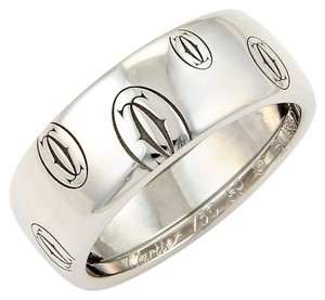 Cartier (15856S) Cartier 18k White Gold Happy Birthday Logo 8mm Band Ring Size EU 59-US 9