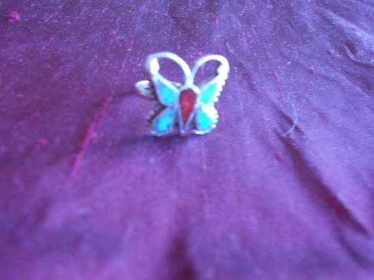Other BEAUTIFUL PETITE TURQUOISE AND CORAL BUTTERFLY .925 STERLING SILVER RING 3 GRAMS