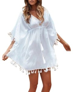NEW WOMENS BOHO CHIC SWIMSUIT COVER UP WHITE COTTON GAUZE ONE SIZE FITS ALL