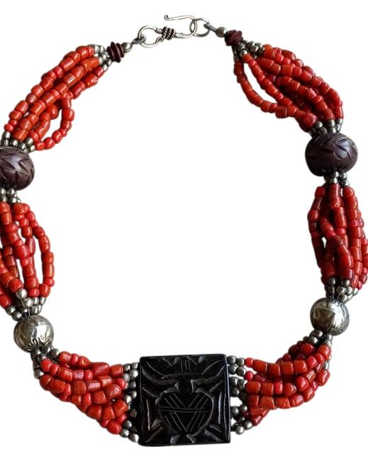 Item - Coral Brown and Silver One Of A Kind Zen Necklace