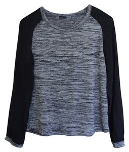 French Atmosphere Raglan Black Chiffon Fancy Sweater