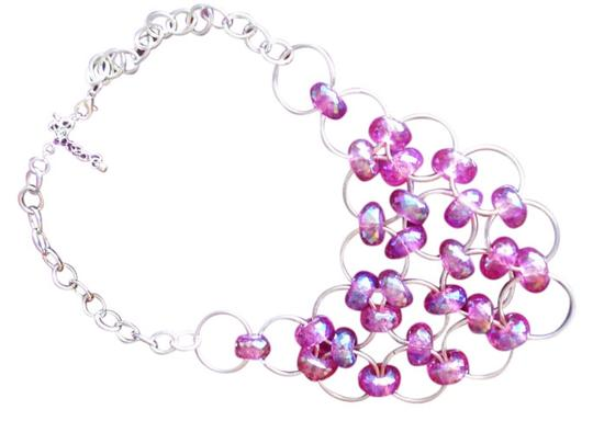 Other PRETTY PINK AB PLASTIC BEADED CASCADING NECKLACE