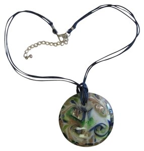 NEW MURANO STYLE GLASS PENDANT NECKLACE