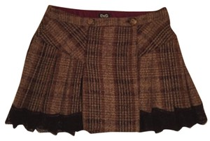 Dolce&Gabbana Plaid Lace Mini Pleated Mini Skirt
