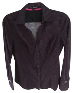 Express Button Down Shirt Black and pink