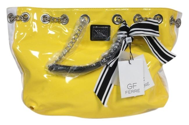 Item - Shoulder Bag Gf Yellow Patent White Canvas Sides Stripped Canvas Back and Satchel