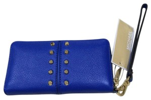 Michael Kors Astor Chain Coin Multifunction Wallet Electric Blue Leather