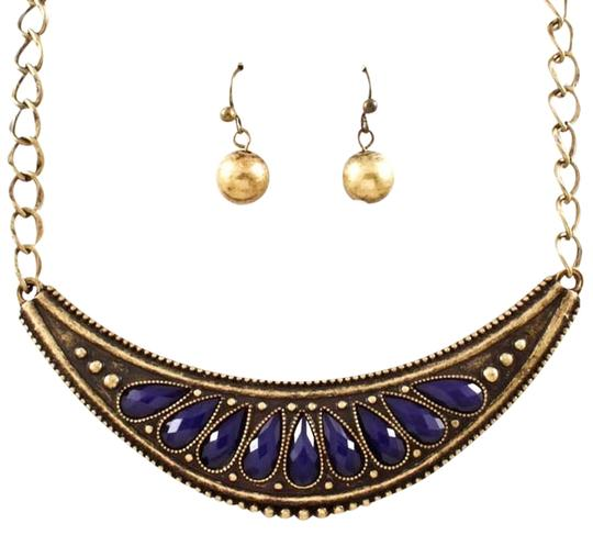 Other antiqued gold and blue necklace and earring set