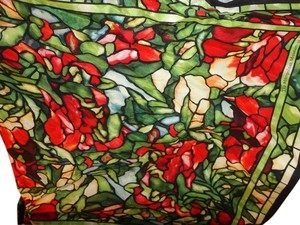 Metropolitan Museum of Art Metropolitan Museum of Art Tiffany Red Floral Stained Glass Print Silk Scarf-Small Square