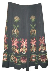 Sunny Leigh Embroidered Boho Floral Skirt BLACK
