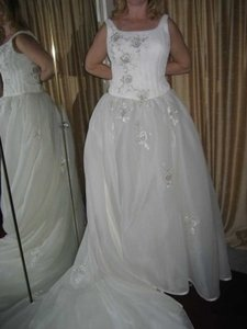 Anjolique Ivory Organza Traditional Wedding Dress Size 6 (S)