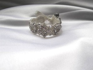 Other Flower Girl Rhinestone Crystal Bracelet Cuff With Ribbon Closure