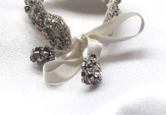 Rhinestone Crystal Bracelet Cuff with Ribbon Closure Flower Girl Accessory