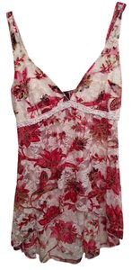 Joyce Leslie Top Red and Cream Flowers and Lace