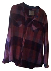 Arizona Jean Company Red Purple Plaid Button Down Button Down Shirt Red/Purple/Plaid