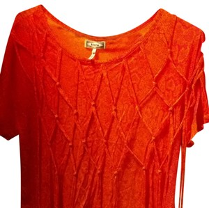 Kirra Unique Crop Cute Casual T Shirt Orange And Pink