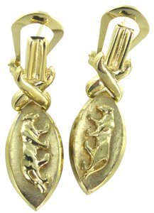 14K SOLID YELLOW GOLD EARRINGS PANTHERE PANTHER 6 GRAMS ANIMAL DANGLE VINTAGE