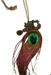 Other New Peacock Feather Necklace Antiqued Gold J1377
