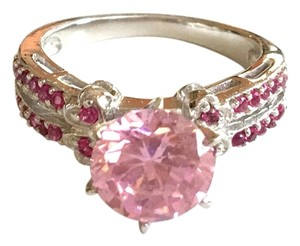 2CT Natural Ruby & Pink Topaz 925 Solid Genuine Sterling Silver 14k Ring Sz 6