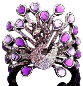 BNWOT ~ Hinged, Purple Swarovski Peacock Bracelet