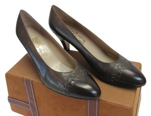 Salvatore Ferragamo 2 Tone Leather Size 10.00 Aa Brown Pumps