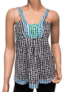 BCBGMAXAZRIA Sleeveless Spotted Brown Green Blue Top multicolor
