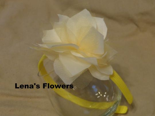 Other White and Yellow flower on plastic headband, hair accessories. Fall season colors. Image 1