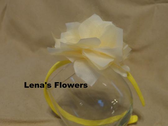 Other White and Yellow flower on plastic headband, hair accessories. Fall season colors. Image 3