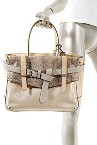 Reed Krakoff Tote in Light Peach, Cream, Grey, Snake