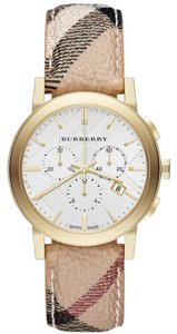 Burberry Burberry The City Chronograph Swiss Ladies Check Leather Band Watch BU9752