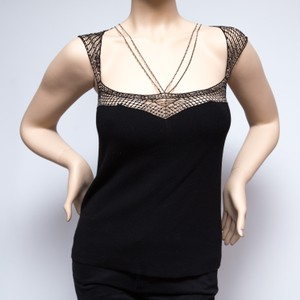 BCBGMAXAZRIA Beaded Intricate Cap Sleeves Top Black