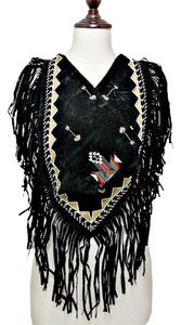 Boho Tribal Chic Black Suede Fringe Neckerchief Shawl Wrapskirt