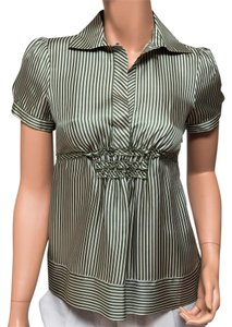 BCBGMAXAZRIA Silk Striped Top Green