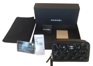 Chanel Mini Medium Jumbo Wallet Patent Leather Black Clutch
