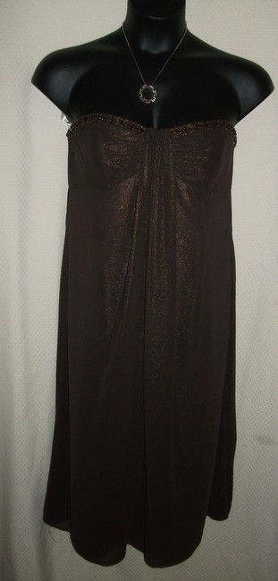 Item - Brown Shimmer Polyester Drapey Beaded Strapless Tea Length Formal Bridesmaid/Mob Dress Size 16 (XL, Plus 0x)