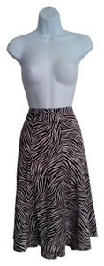 Michael Kors Zebra Animal Print Skirt Brown & White