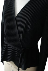 Armani Collezioni Silk Pleated Wrap Top Black