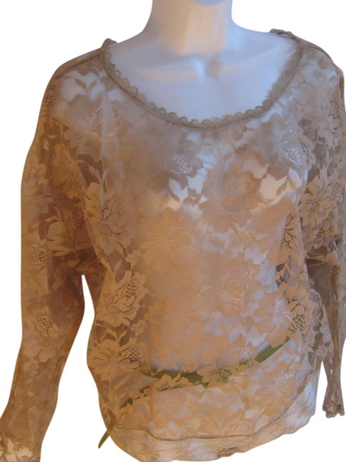 Preload https://item3.tradesy.com/images/beige-vintage-lace-night-out-top-size-10-m-745347-0-0.jpg?width=400&height=650