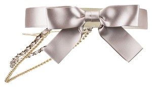 Chanel Chanel Pink Satin Pearl Bow Belt