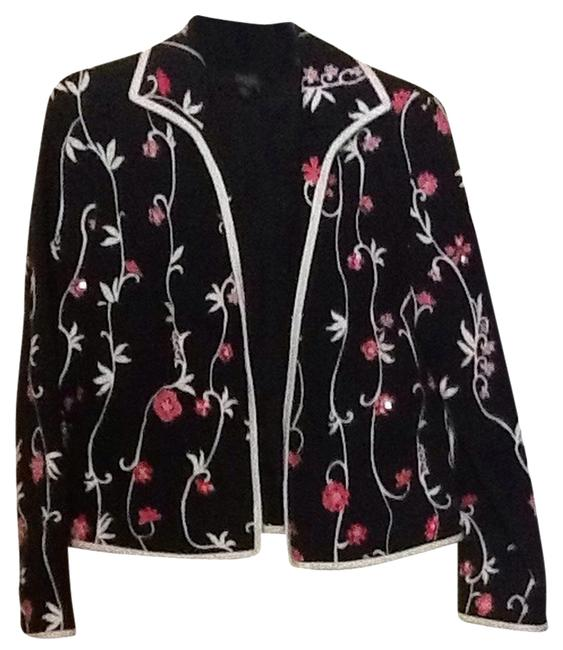 Peck & Peck Black With Pink And White Jacket