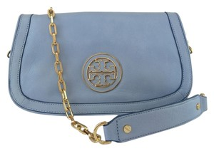 Tory Burch Leather Shoulder light chambray blue Clutch