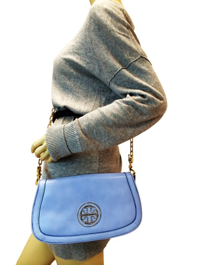 Tory Burch Leather Shoulder light chambray blue Clutch Image 1