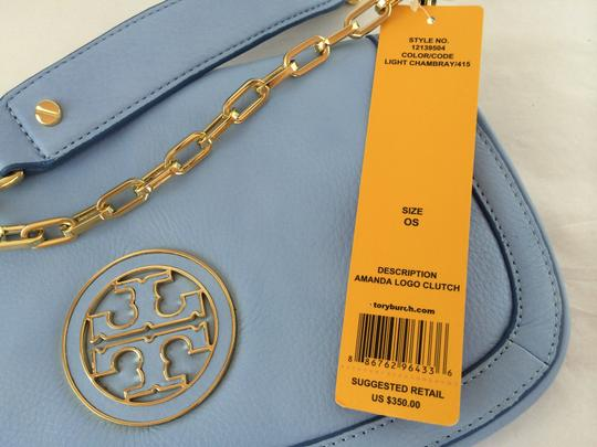 Tory Burch Leather Shoulder light chambray blue Clutch Image 11