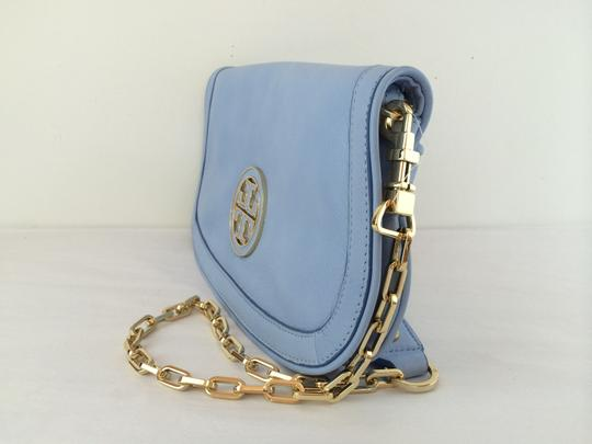 Tory Burch Leather Shoulder light chambray blue Clutch Image 2
