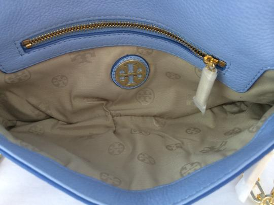 Tory Burch Leather Shoulder light chambray blue Clutch Image 4
