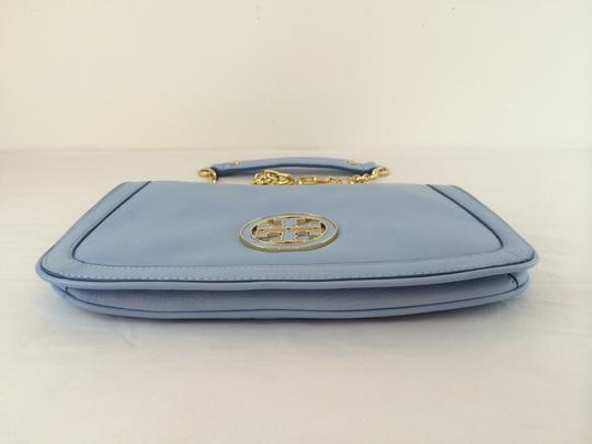 Tory Burch Leather Shoulder light chambray blue Clutch Image 7