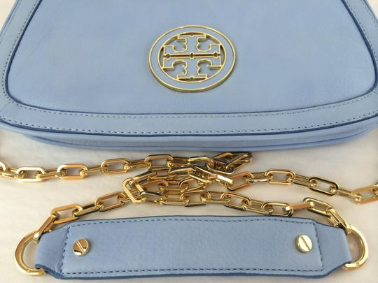 Tory Burch Leather Shoulder light chambray blue Clutch Image 8