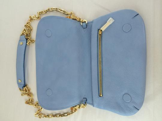 Tory Burch Leather Shoulder light chambray blue Clutch Image 9